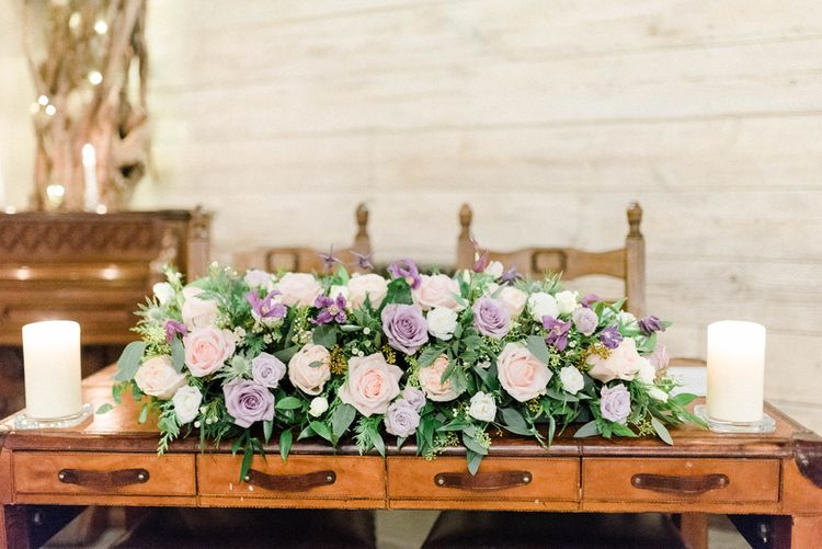 Wedding Altar Flowers with Pastel Pink, Lilac and Peach Rose Wedding Flowers