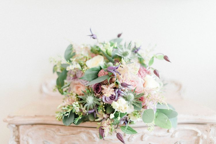 Pastel Pink, Lilac and White Flower Wedding Bouquet with Foliage