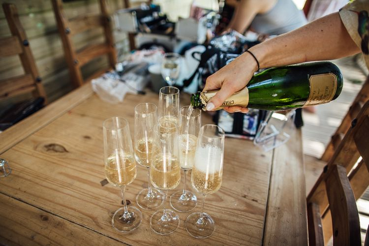 Champagne | DIY Rustic Wedding in a Sheep Shed | Suzanne Neville Bridal Gown | Donegal Tweed Suits | Bridesmaids inPurple  JLM Couture Special Occasions Dresses | Matt Willis Photography