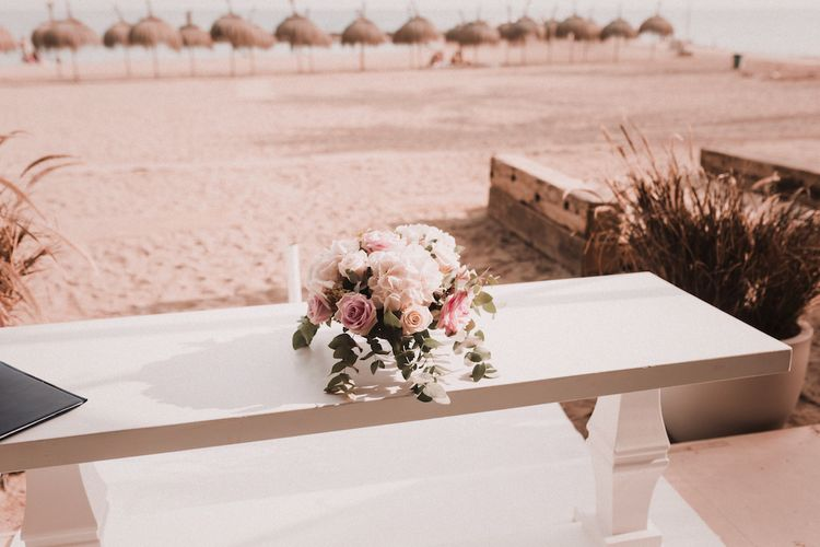 Ceremony Table Wedding Flowers | Blush Pink & White Marbella Beach Wedding at El Chiringuito, Puente Romano |  Kino Ortega Photographer