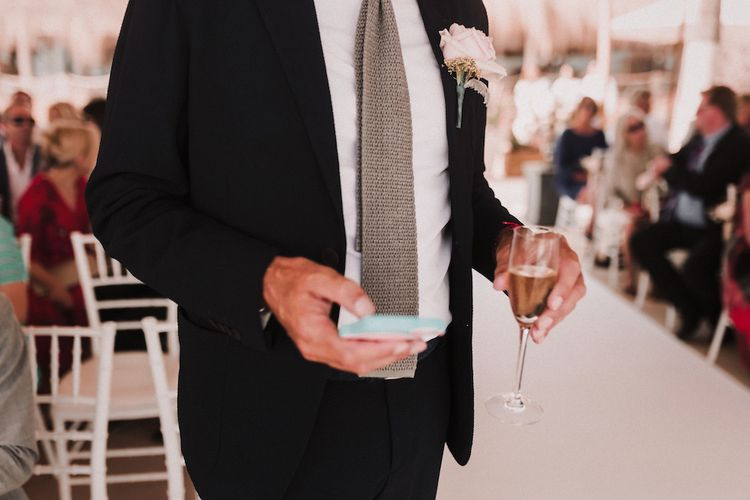 Groom at the Altar | Blush Pink & White Marbella Beach Wedding at El Chiringuito, Puente Romano |  Kino Ortega Photographer