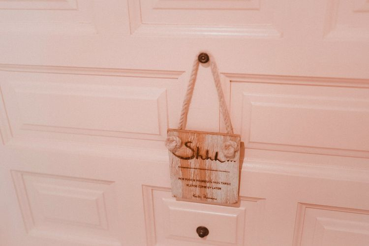 Ssh Door Sign | Blush Pink & White Marbella Beach Wedding at El Chiringuito, Puente Romano |  Kino Ortega Photographer