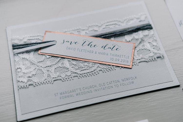 Lace Wedding Invitation | Peach Wedding at Swanton Morley House and Gardens in Norfolk |  Jason Mark Harris Photography | Together we Roam Films