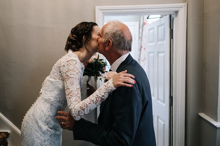 Father of the Bride First Look | Bride in Lace Wedding Dress | Peach Wedding at Swanton Morley House and Gardens in Norfolk |  Jason Mark Harris Photography | Together we Roam Films