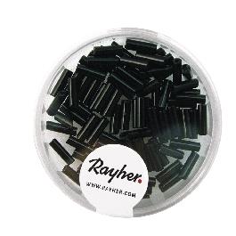 Szalmagyöngy, 7x2 mm, opak, fekete,15g