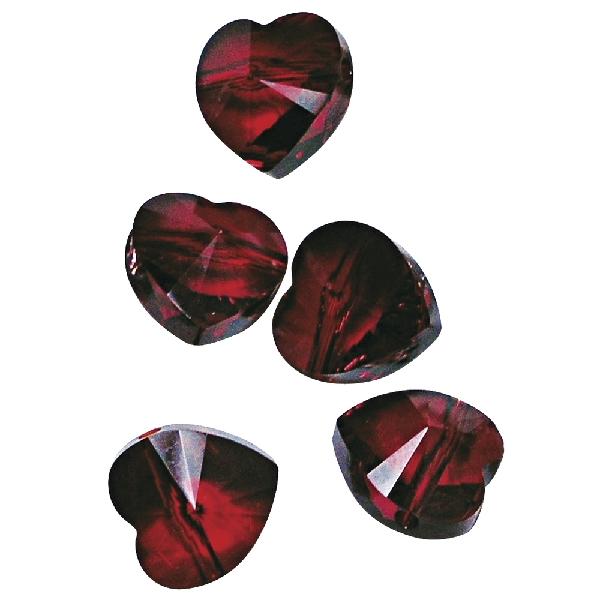 Swarovski kristályszív, átfúrva, rubin, 10 mm, 5 db/dob.