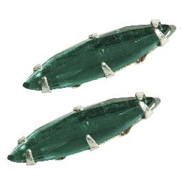Ovális üveg strasszkő, 16x4 mm, smaragd, 2 db