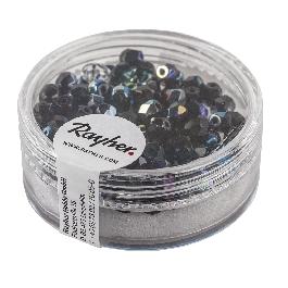 Csiszolt üveggyöngy, 4 mm, irizáló, ónix, 100 db/dob.