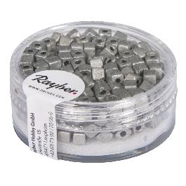 Metallic-kockagyöngy, matt, brill.ezüst, 3,4 mm, 15g