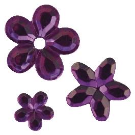 Akril strasszvirágok, lila, 5, 8,10 mm, 310 db