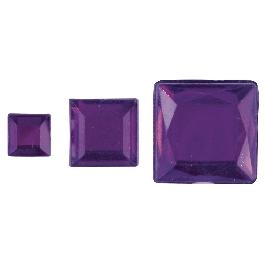 Akril strassznégyzetek, lila, 6,10,14 mm, 310 db