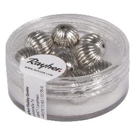 Barázdált gyöngy, átm. 10 mm, ezüst, 10 db/dob.