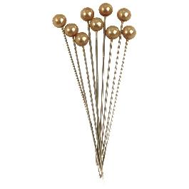 Gyöngyfejű gombostű, 64 és 6 mm, arany, 25 db