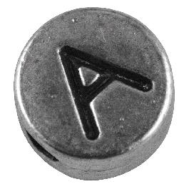 Fémgyöngy A, nikkelmentes, ezüst, átm. 7 mm, lyuk 2 mm