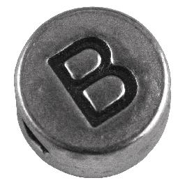 Fémgyöngy B, nikkelmentes, ezüst, átm. 7 mm, lyuk 2 mm