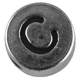 Fémgyöngy C, nikkelmentes, ezüst, átm. 7 mm, lyuk 2 mm