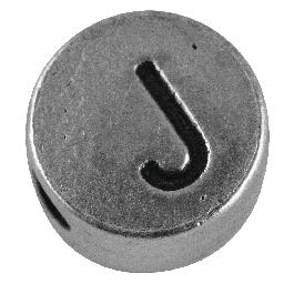 Fémgyöngy J, nikkelmentes, ezüst, átm. 7 mm, lyuk 2 mm