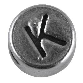 Fémgyöngy K, nikkelmentes, ezüst, átm. 7 mm, lyuk 2 mm