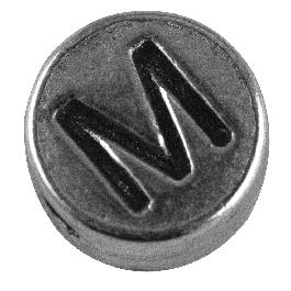 Fémgyöngy M, nikkelmentes, ezüst, átm. 7 mm, lyuk 2 mm