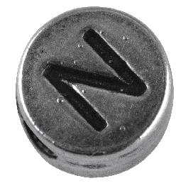 Fémgyöngy N, nikkelmentes, ezüst, átm. 7 mm, lyuk 2 mm