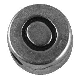Fémgyöngy O, nikkelmentes, ezüst, átm. 7 mm, lyuk 2 mm