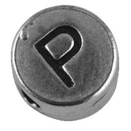 Fémgyöngy P, nikkelmentes, ezüst, átm. 7 mm, lyuk 2 mm