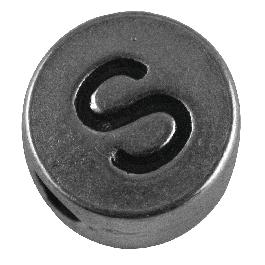Fémgyöngy S, nikkelmentes, ezüst, átm. 7 mm, lyuk 2 mm