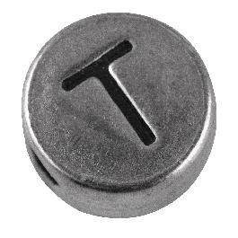 Fémgyöngy T, nikkelmentes, ezüst, átm. 7 mm, lyuk 2 mm