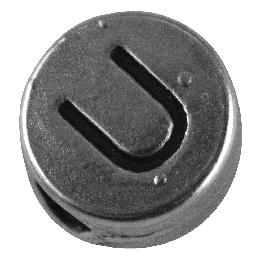 Fémgyöngy U, nikkelmentes, ezüst, átm. 7 mm, lyuk 2 mm
