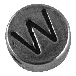 Fémgyöngy W, nikkelmentes, ezüst, átm. 7 mm, lyuk 2 mm