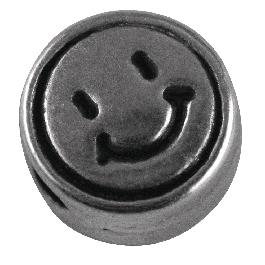 Fémgyöngy, Smiley, nikkelmentes, ezüst, átm. 7 mm, lyuk 2 mm
