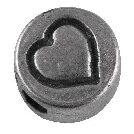Fémgyöngy, szív, nikkelmentes, ezüst, átm. 7 mm, lyuk 2 mm