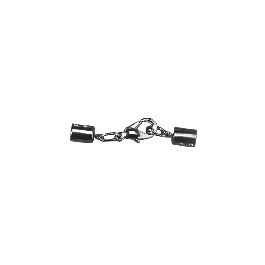 Ékszerkapocs karabinerrel összeszerelve, platina, 3 mm, 1 db