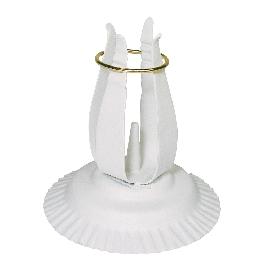 Gyertyatartó keresztelő és elsőáldozógyertyákhoz, fehér, 11 cm átm.,12 cm