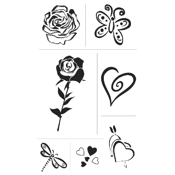 Szilikonbélyegző, átlátszó, szív és rózsa, 2-6 cm, csom. 7 motívum