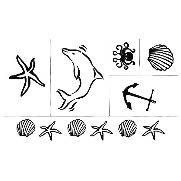 Szilikonbélyegző, tengeri, 2,5-13 cm, 6 motívum