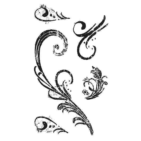 Szilikonbélyegző, átlátszó, Ornamente, 4,5-13 cm, 5 motívum