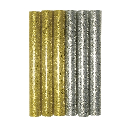 Csillámos ragasztópisztoly-betét, arany/ezüst, 10 cm, csom. 6 db