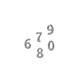 Matrica-felirat számok, 10 mm, ezüst, 10x24,5 cm