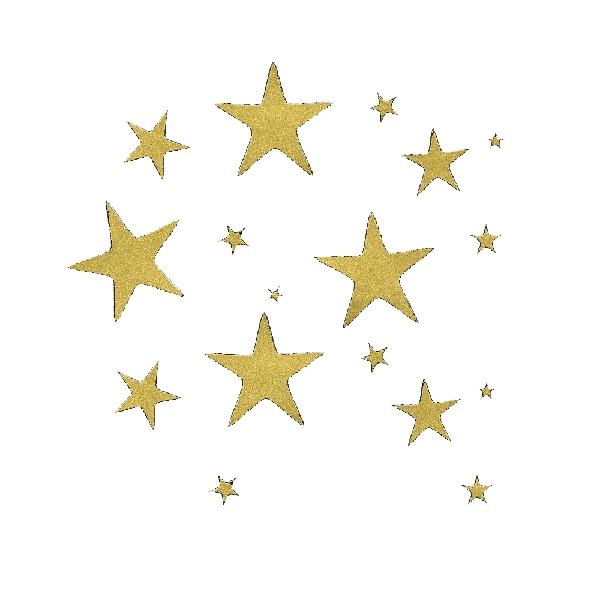 Matrica, csillagok, arany, 10x24,5 cm