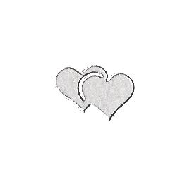 Matrica, szív, ezüst, 10x24,5 cm