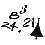 Kontúrmatrica: Adventinaptár-számok 10mm, fekete 10x24,5 cm