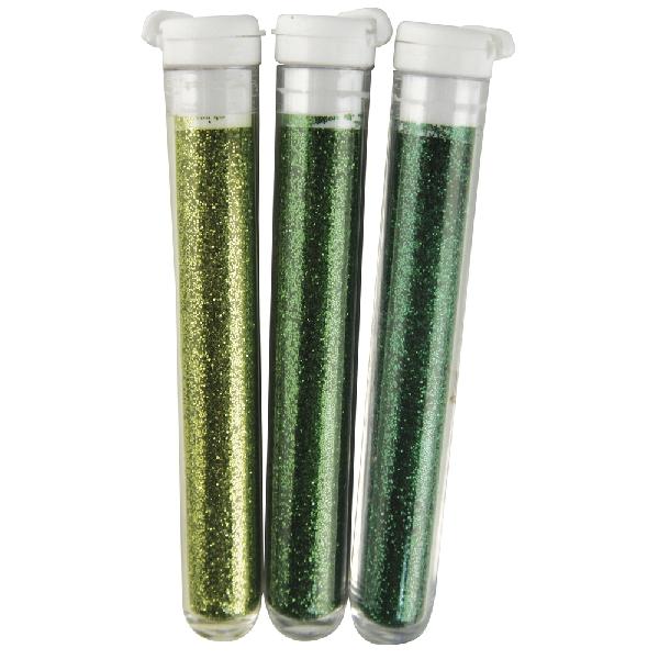 Finom flitter, zöld árny.,3 szín á 3 g