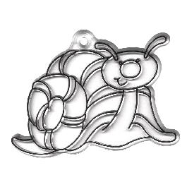 Akrilfüggő, csiga, 6x8 cm