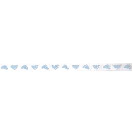 Organzaszalag bébilábnyom, vil.kék, 10 mm, 20 m/tek.