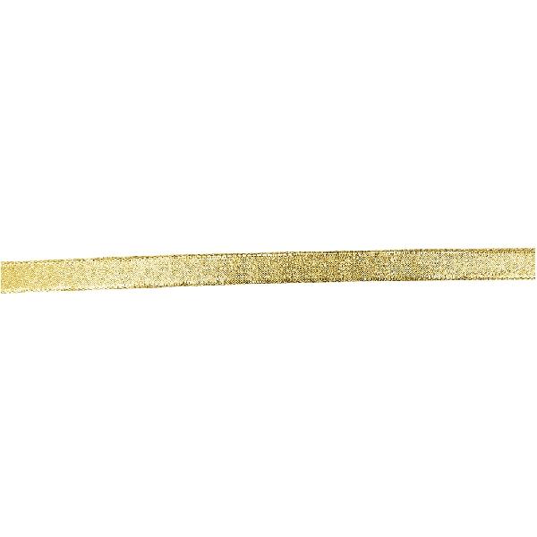 Drótszélű szalag, brokát, arany, 15 mm, 25 m/tek.