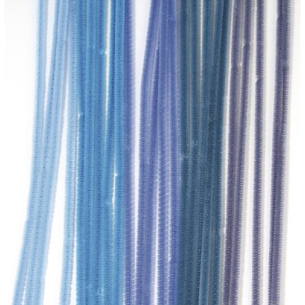 Zseníliadrót, 30 cm, kék árnyalatok vegyesen, csom. 15 db, 9 mm vastag