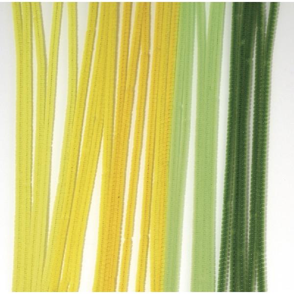 Zseníliadrót, 30 cm, zöld/sárga árnyalatok vegyesen, csom. 25 db, 6 mm vasta