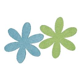 Filcmargaréta, 6 és 9 cm, kék/zöld, 2 színben, csom. 4 db