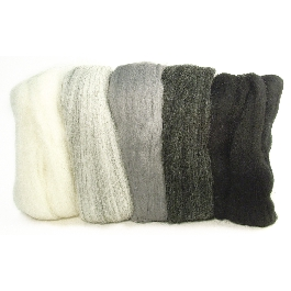 Fésült Merino gyapjú, extra finom, fekete-fehér-szürke árnyalatok, 18 mic, csom. 5 szín á 10g